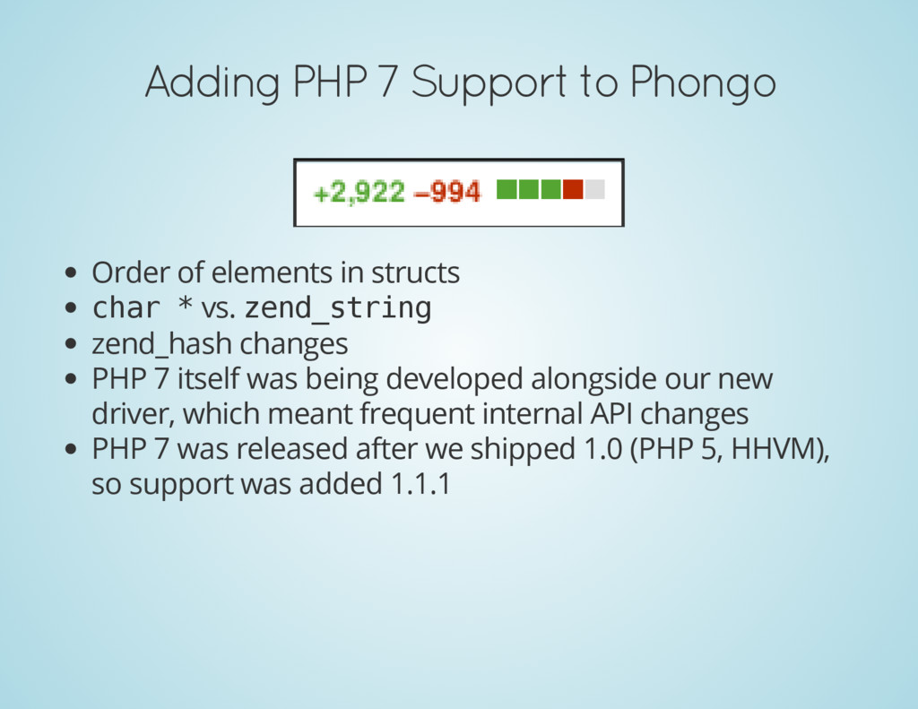 Adding PHP 7 Support to Phongo Order of element...