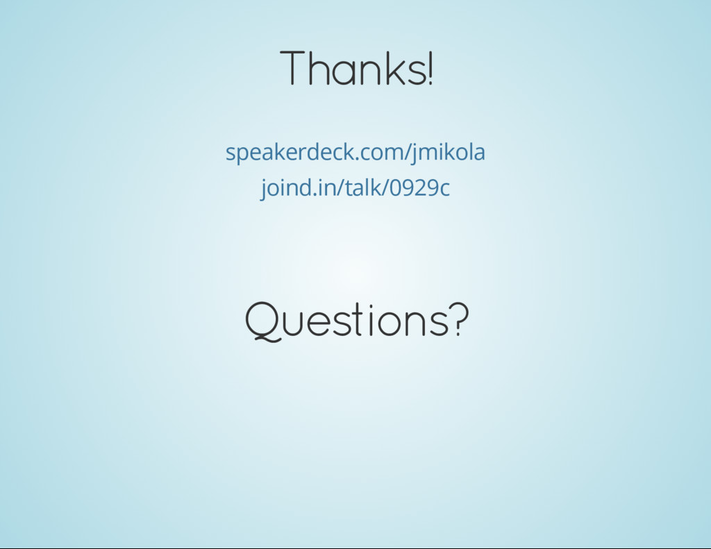 Thanks! speakerdeck.com/jmikola joind.in/talk/0...