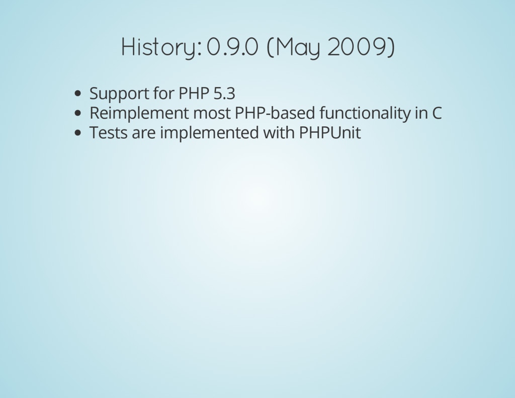 History: 0.9.0 (May 2009) Support for PHP 5.3 R...