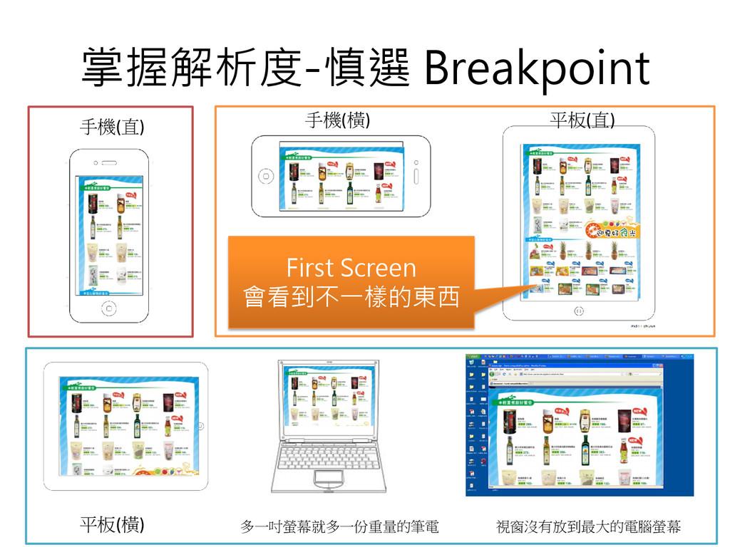 掌握解析度-慎選 Breakpoint First Screen 會看到不一樣的東西 手機(直...