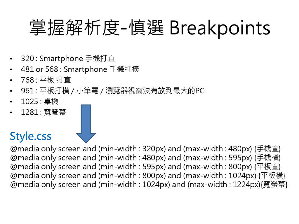 掌握解析度-慎選 Breakpoints • 320 : Smartphone 手機打直 • ...