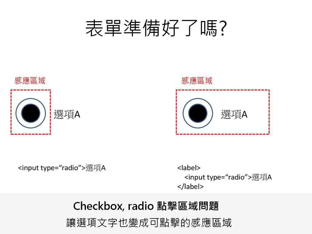"表單準備好了嗎? 選項A 選項A <input type=""radio"">選項A <label..."