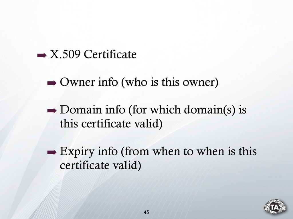 45 ➡ X.509 Certificate ➡ Owner info (who is thi...