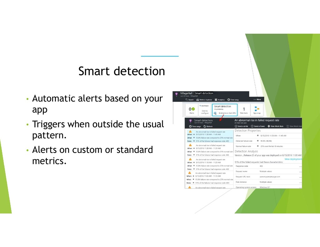• Automatic alerts based on your app • Triggers...