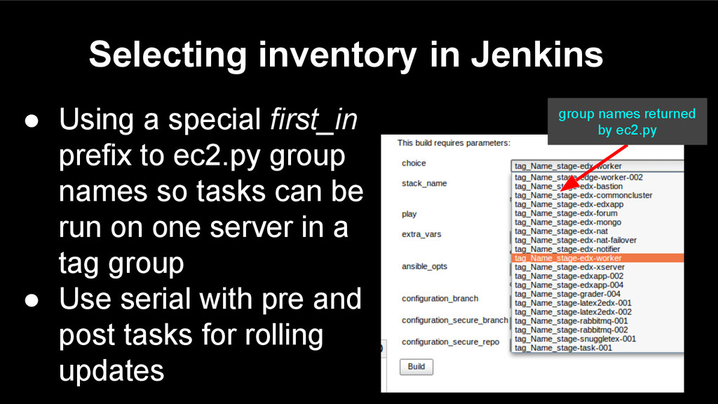 Selecting inventory in Jenkins ● Using a specia...