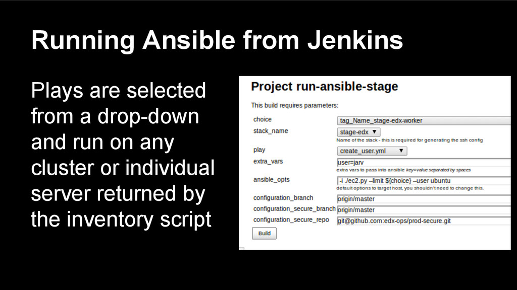 Running Ansible from Jenkins Plays are selected...