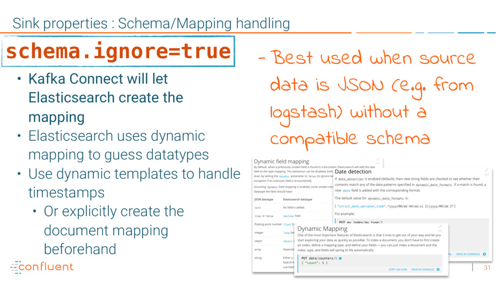 31 Sink properties : Schema/Mapping handling • ...