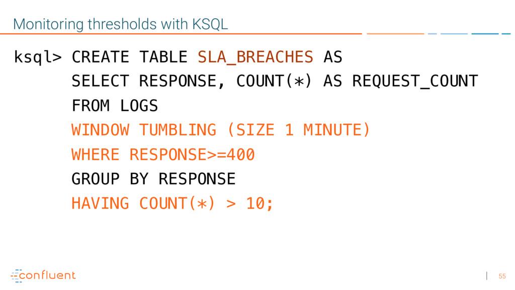 55 Monitoring thresholds with KSQL ksql> CREATE...