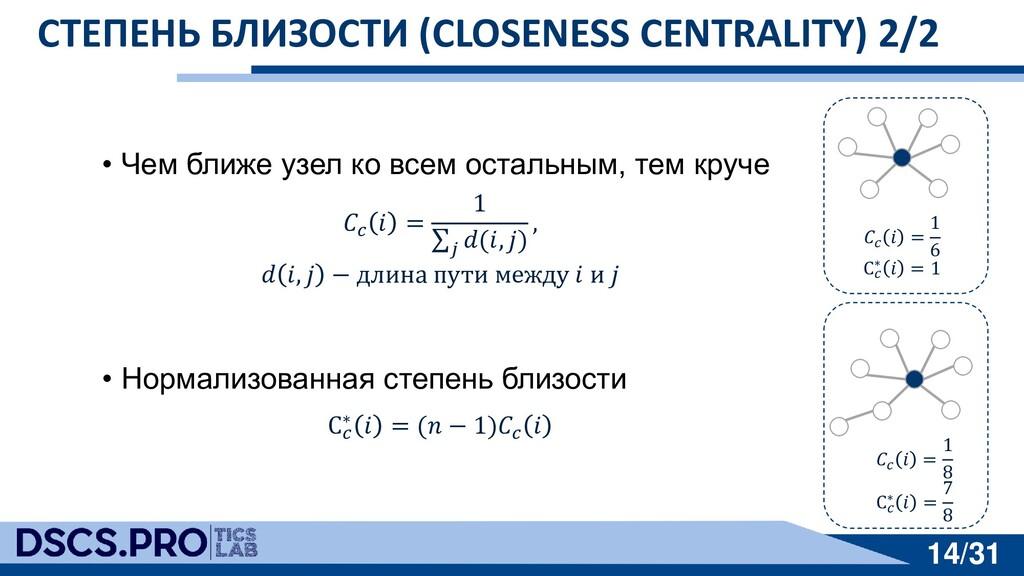 14/31 14/31 СТЕПЕНЬ БЛИЗОСТИ (CLOSENESS CENTRAL...