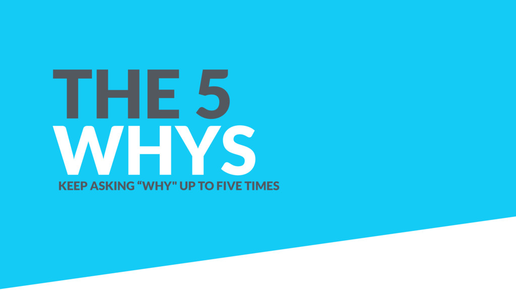 "THE 5 WHYS KEEP ASKING ""WHY"" UP TO FIVE TIMES"