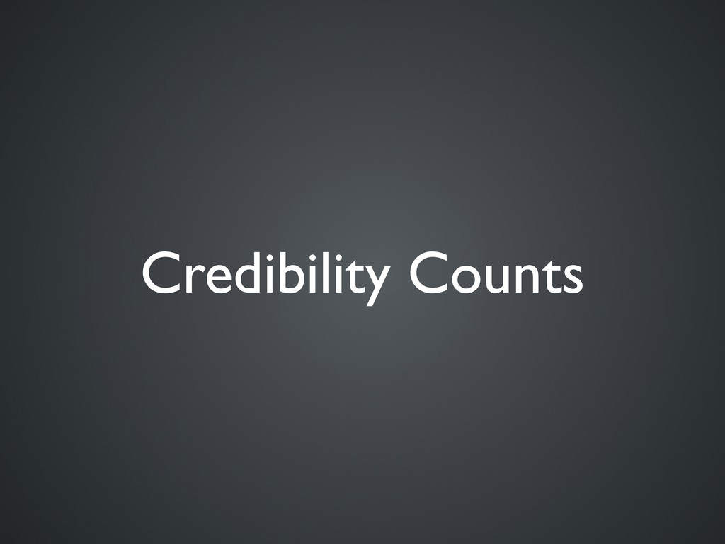 Credibility Counts