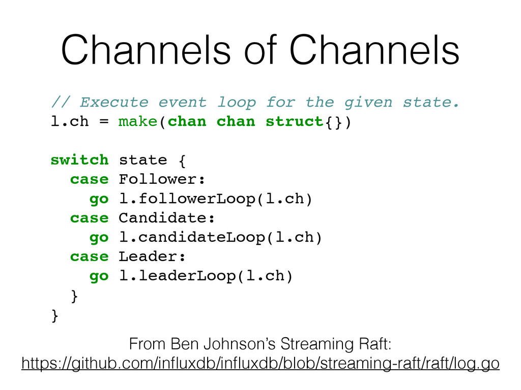 Channels of Channels // Execute event loop for ...