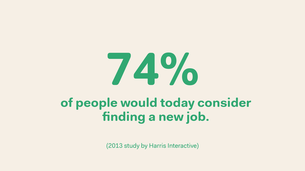 of people would today consider finding a new job...