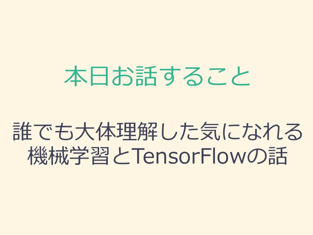 本⽇日お話すること 誰でも⼤大体理理解した気になれる 機械学習とTensorFlowの話
