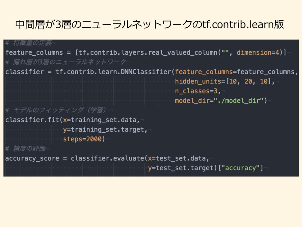 中間層が3層のニューラルネットワークのtf.contrib.learn版