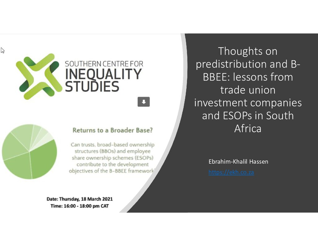 Thoughts on predistribution and B- BBEE: lesson...