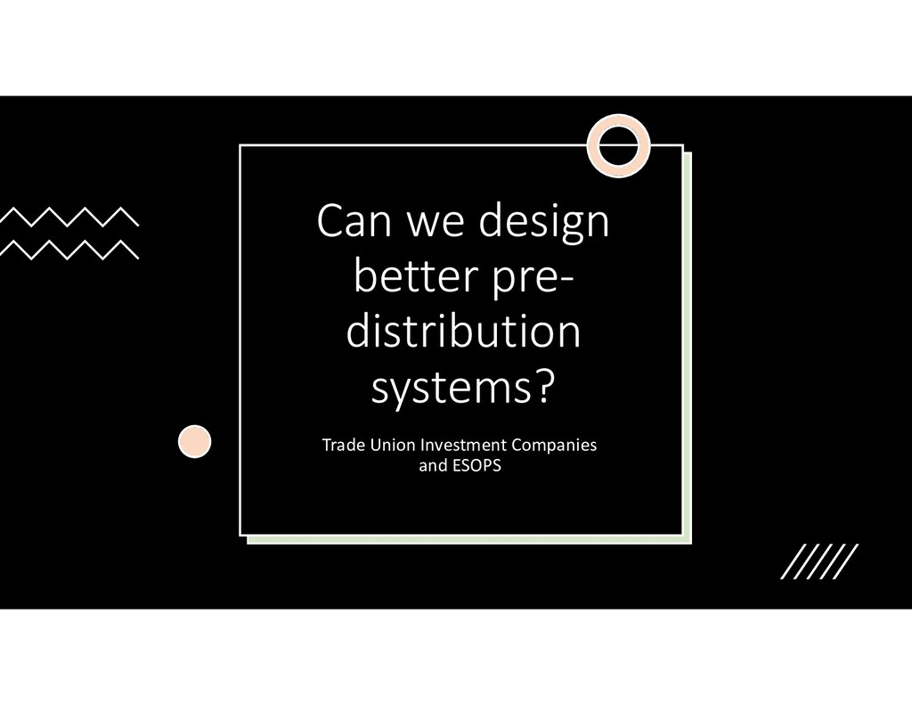 Can we design better pre- distribution systems?...