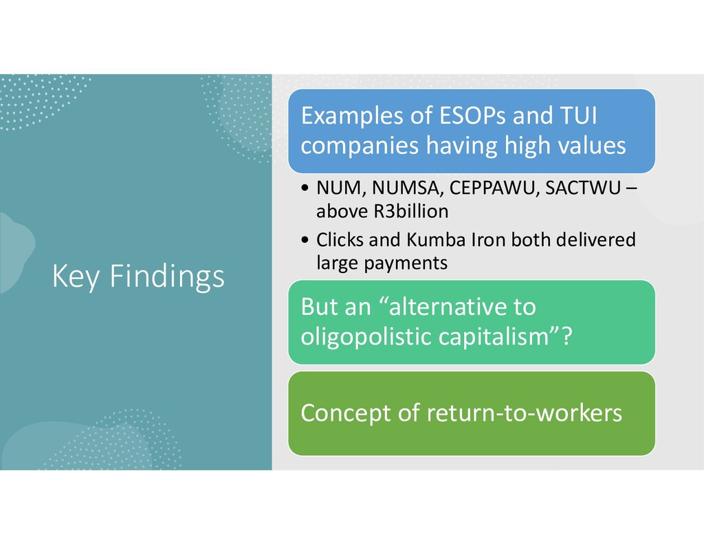 Key Findings Examples of ESOPs and TUI companie...