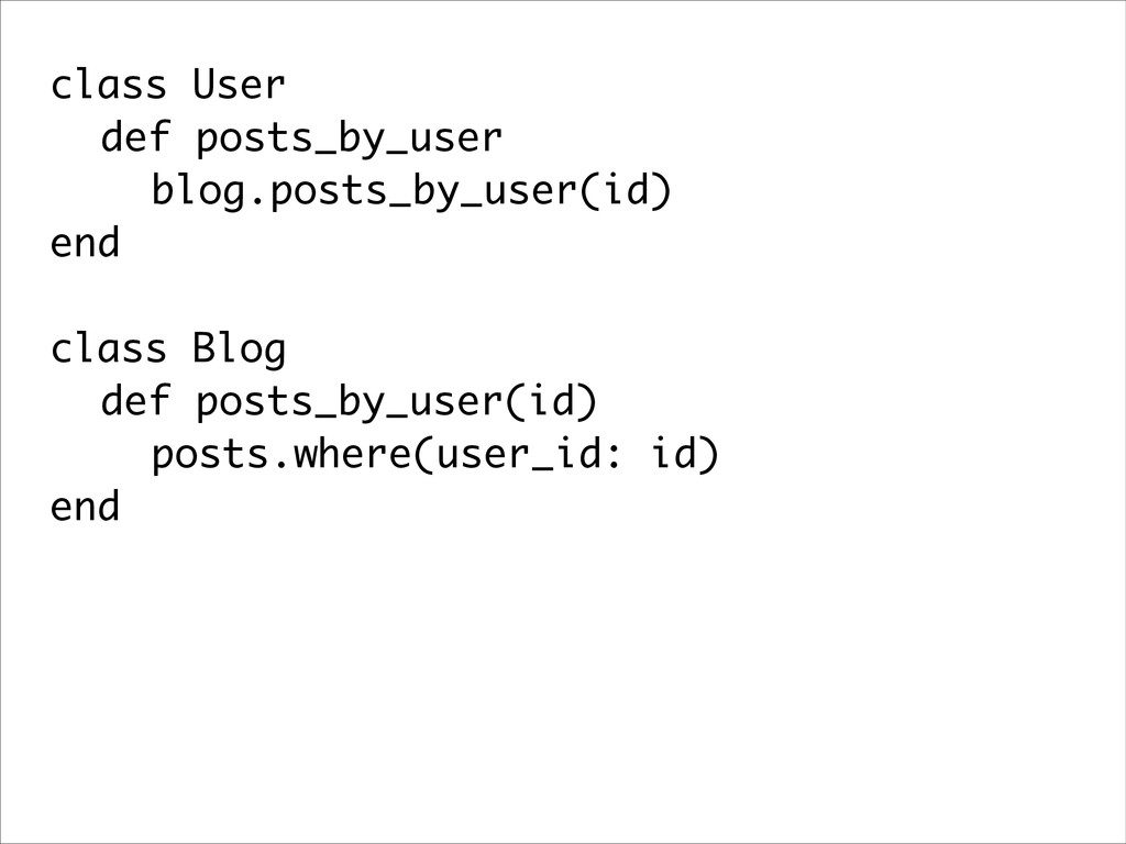 class User def posts_by_user blog.posts_by_user...