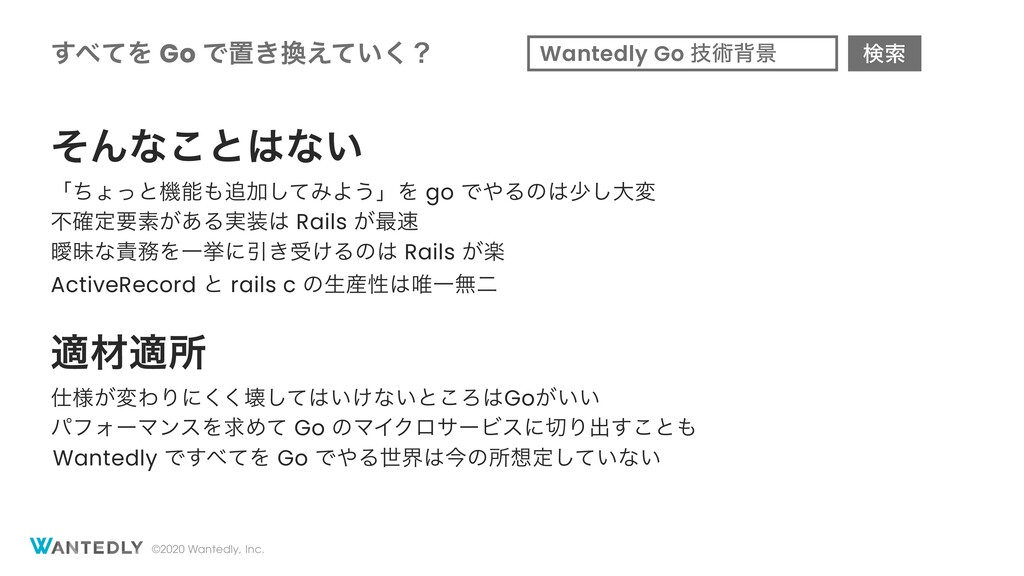 ©2020 Wantedly, Inc. ͯ͢Λ Go Ͱஔ͖͍͑ͯ͘ʁ ͦΜͳ͜ͱͳ͍...
