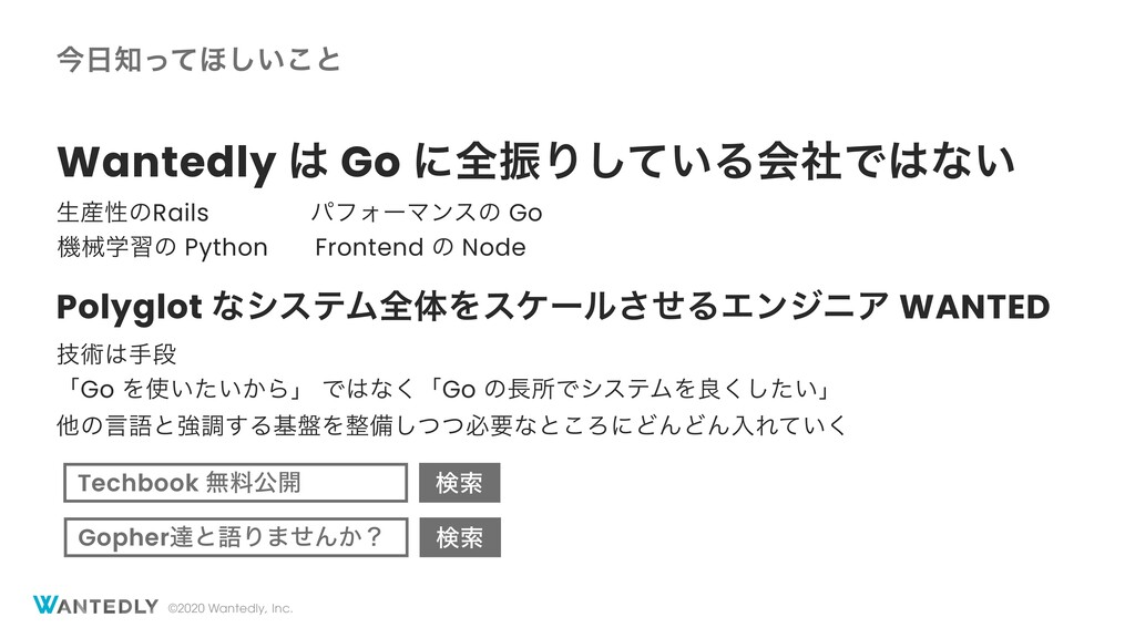 ©2020 Wantedly, Inc. ࠓͬͯ΄͍͜͠ͱ Wantedly  Go ʹ...