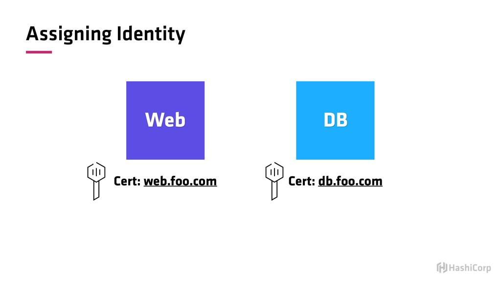 Assigning Identity Web DB Cert: web.foo.com Cer...