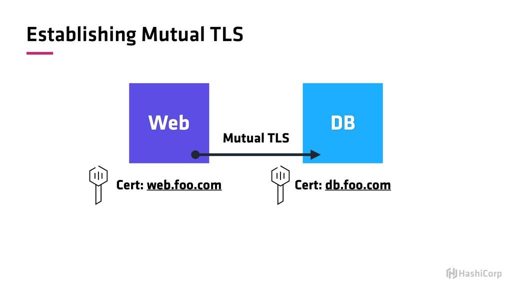 Establishing Mutual TLS Web DB Mutual TLS Cert:...