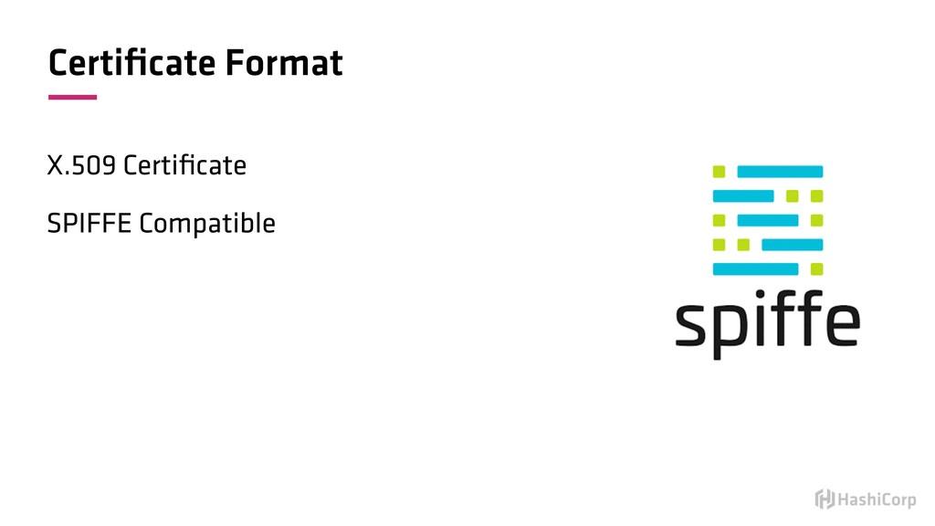 Certificate Format X.509 Certificate SPIFFE Compa...