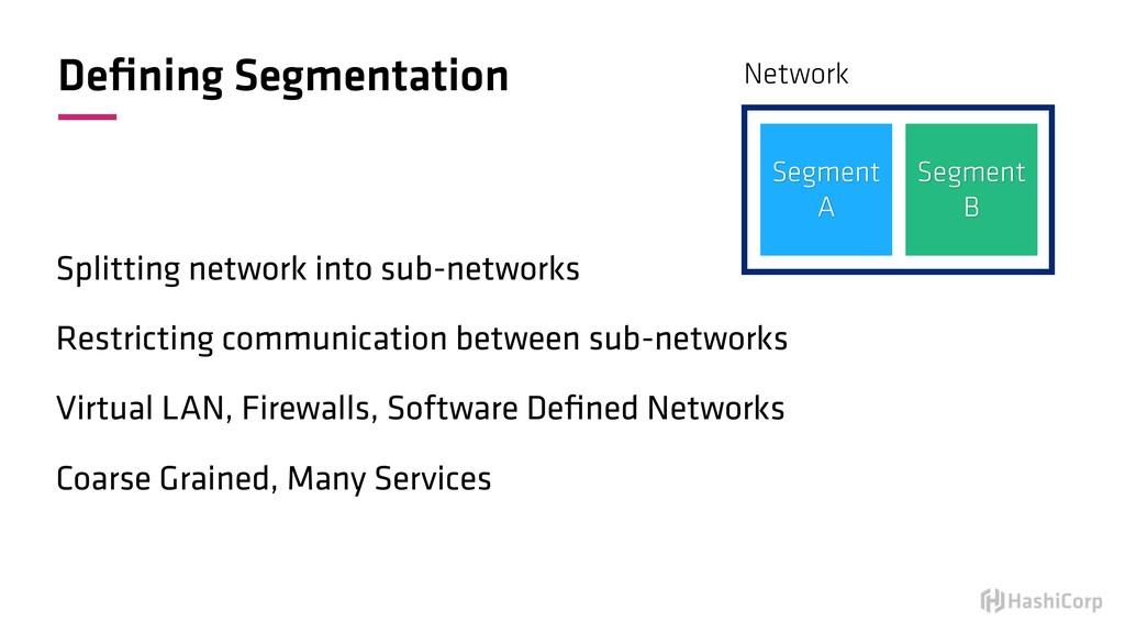 Defining Segmentation Splitting network into sub...