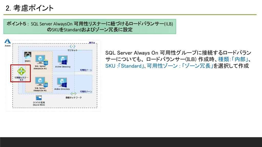 2. 考慮ポイント ポイント5 : SQL Server AlwaysOn 可用性リスナーに紐...