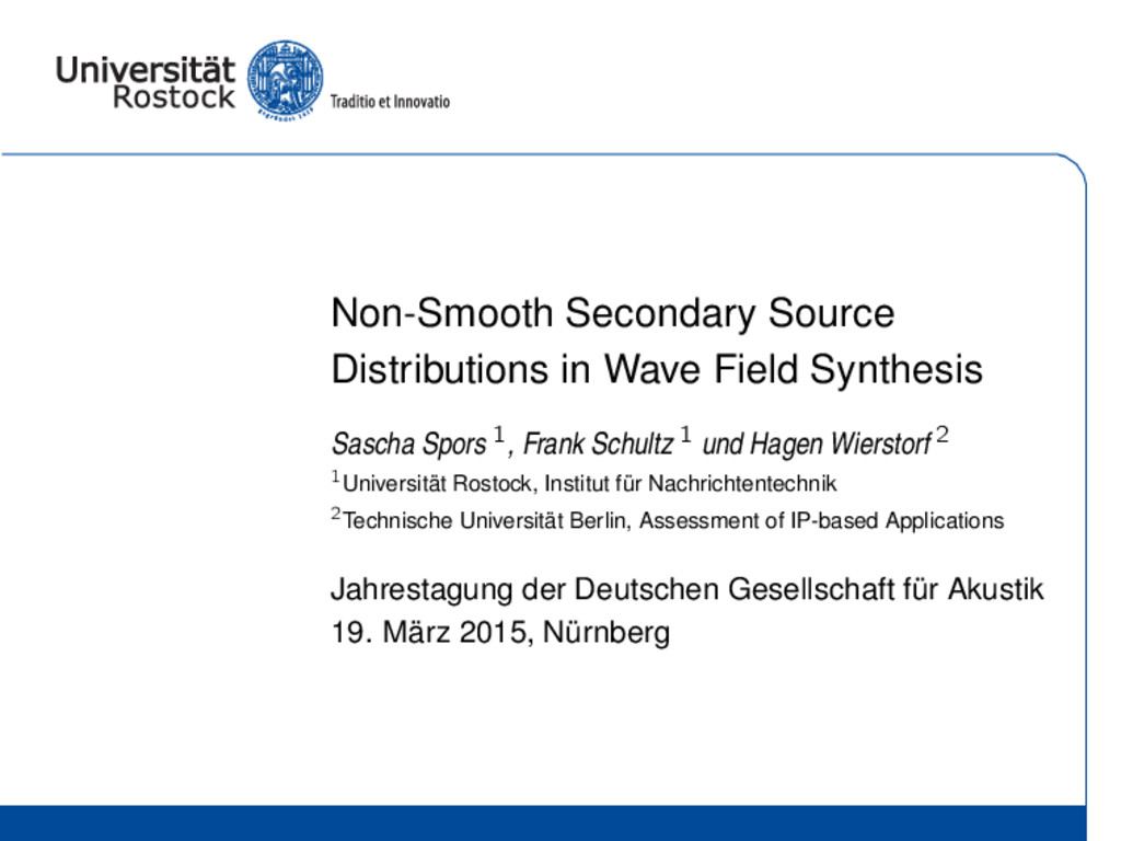 Non-Smooth Secondary Source Distributions in Wa...