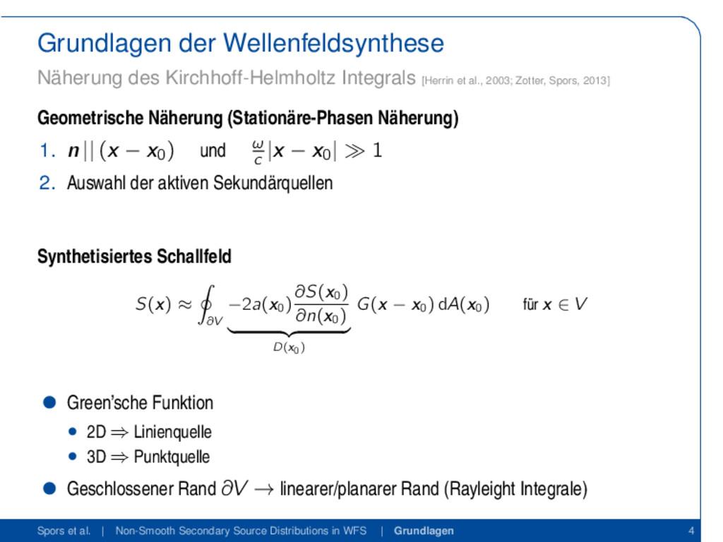 Grundlagen der Wellenfeldsynthese Näherung des ...