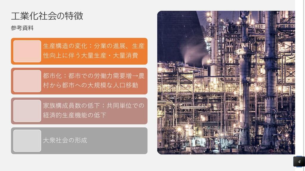 工業化社会の特徴 参考資料 生産構造の変化:分業の進展、生産 性向上に伴う大量生産・大量消費 ...