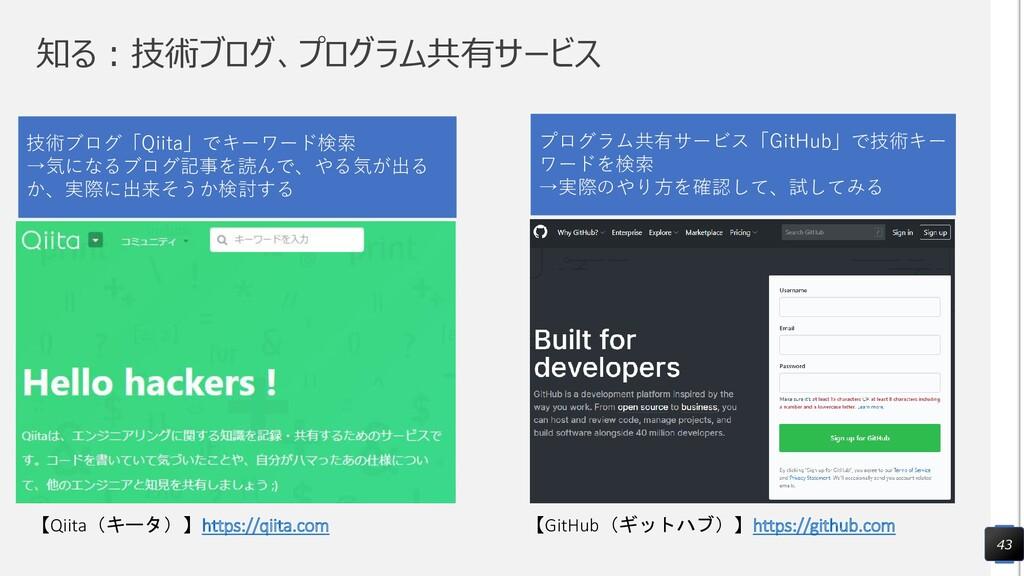 知る:技術ブログ、プログラム共有サービス 43 【Qiita(キータ)】https://qii...