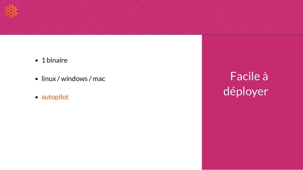 Facile à déployer 1 binaire linux / windows / m...