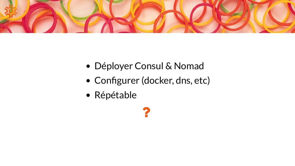 Déployer Consul & Nomad Con gurer (docker, dns,...