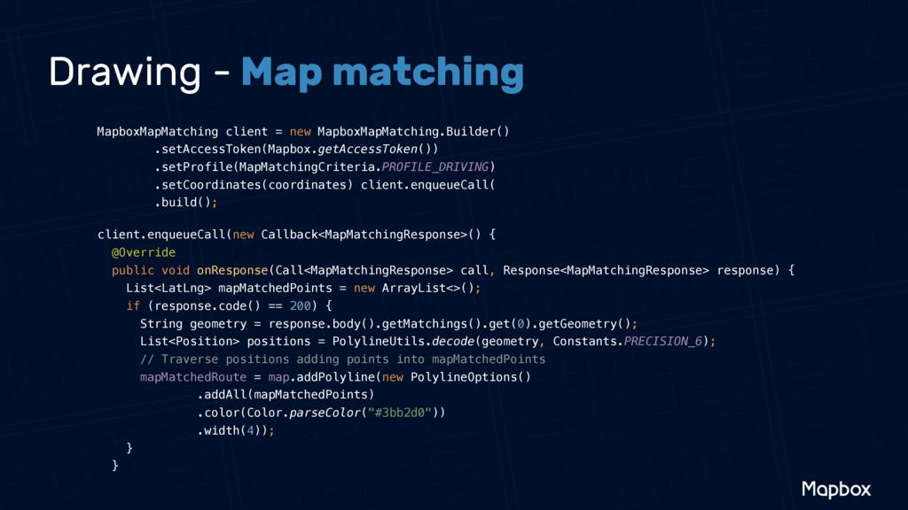 Drawing - Map matching MapboxMapMatching client...