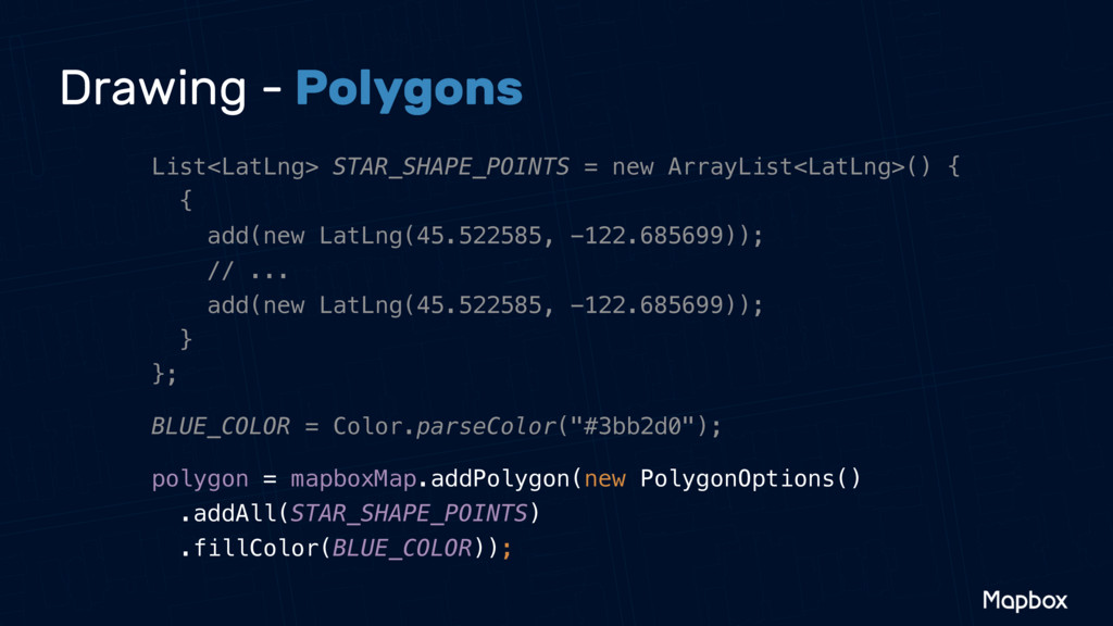Drawing - Polygons List<LatLng> STAR_SHAPE_POIN...