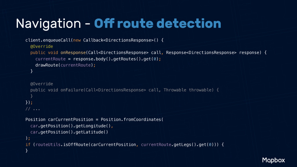 Navigation - Off route detection client.enqueueC...