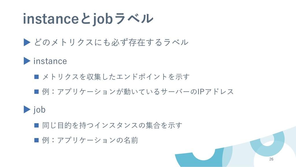 instanceとjobラベル ▶ どのメトリクスにも必ず存在するラベル ▶ instance...