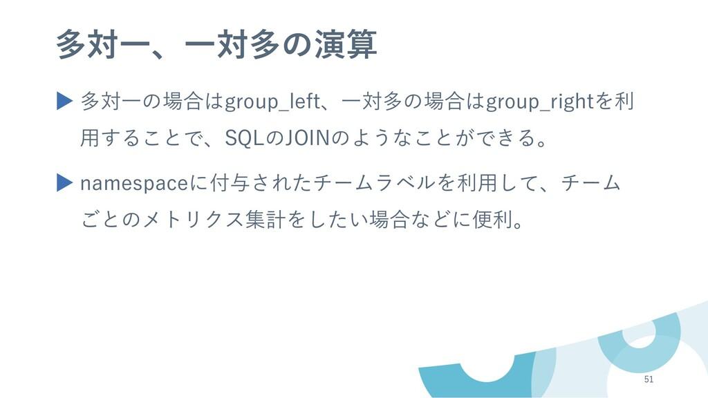 多対⼀、⼀対多の演算 ▶ 多対⼀の場合はgroup_left、⼀対多の場合はgroup_rig...