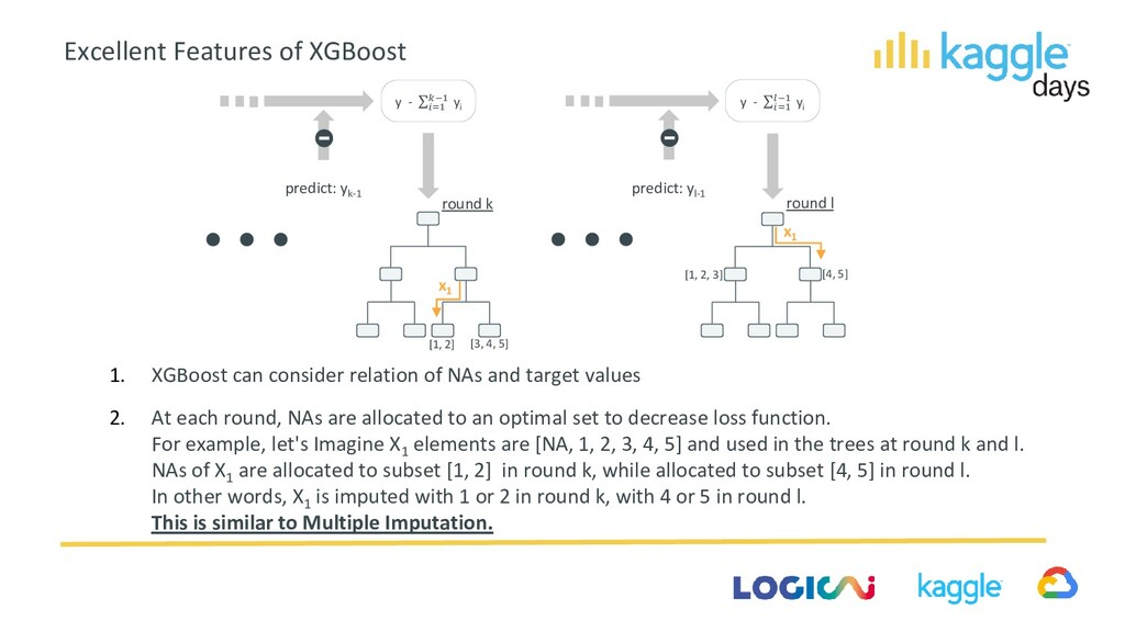 1. XGBoost can consider relation of NAs and tar...