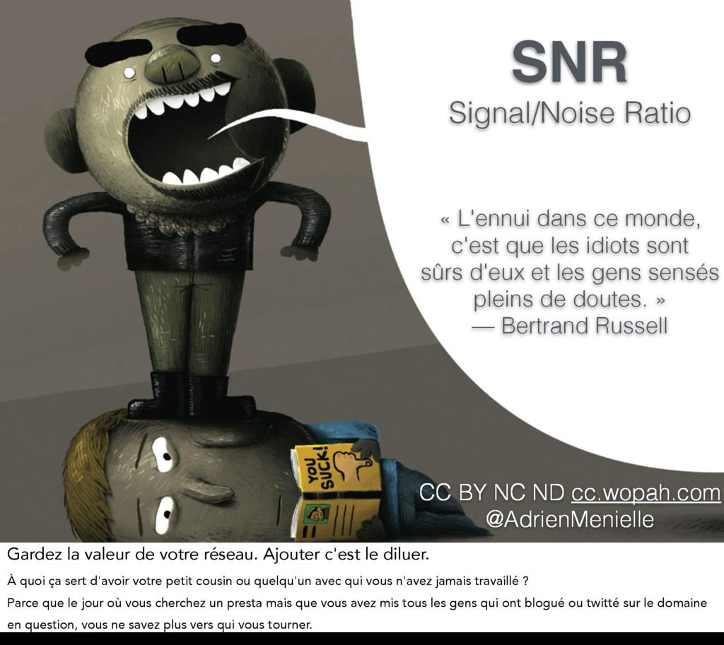 SNR Signal/Noise Ratio « L'ennui dans ce monde,...