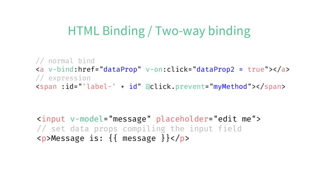 """HTML Binding / Two-way binding <input v-model=""""..."""