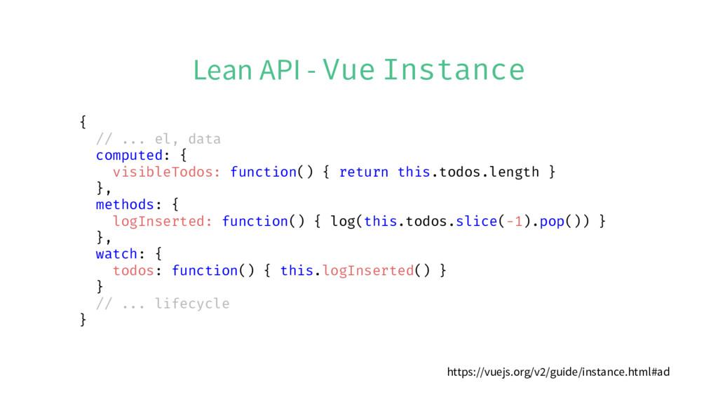 Lean API - Vue Instance { // ... el, data compu...