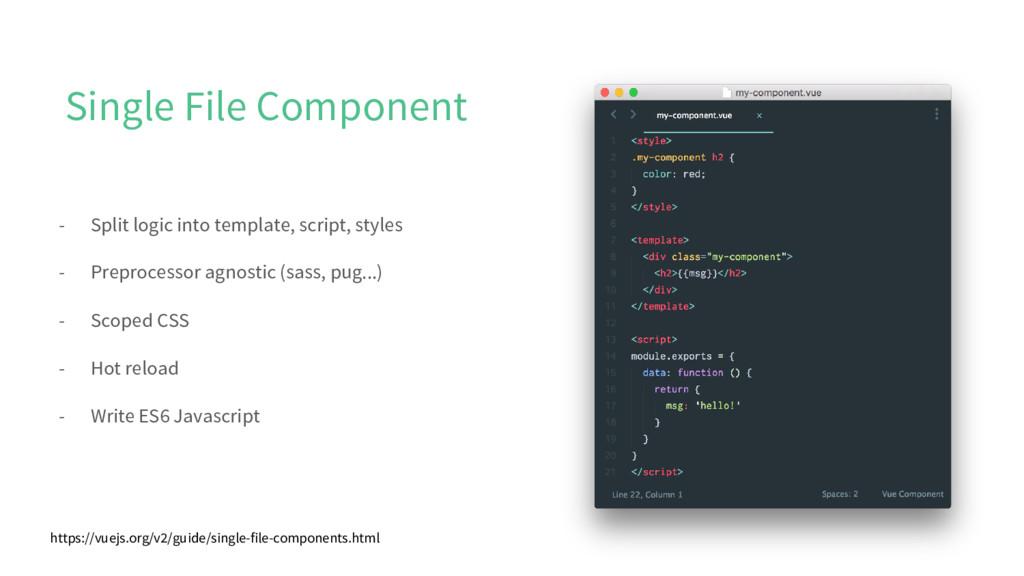 Single File Component - Split logic into templa...