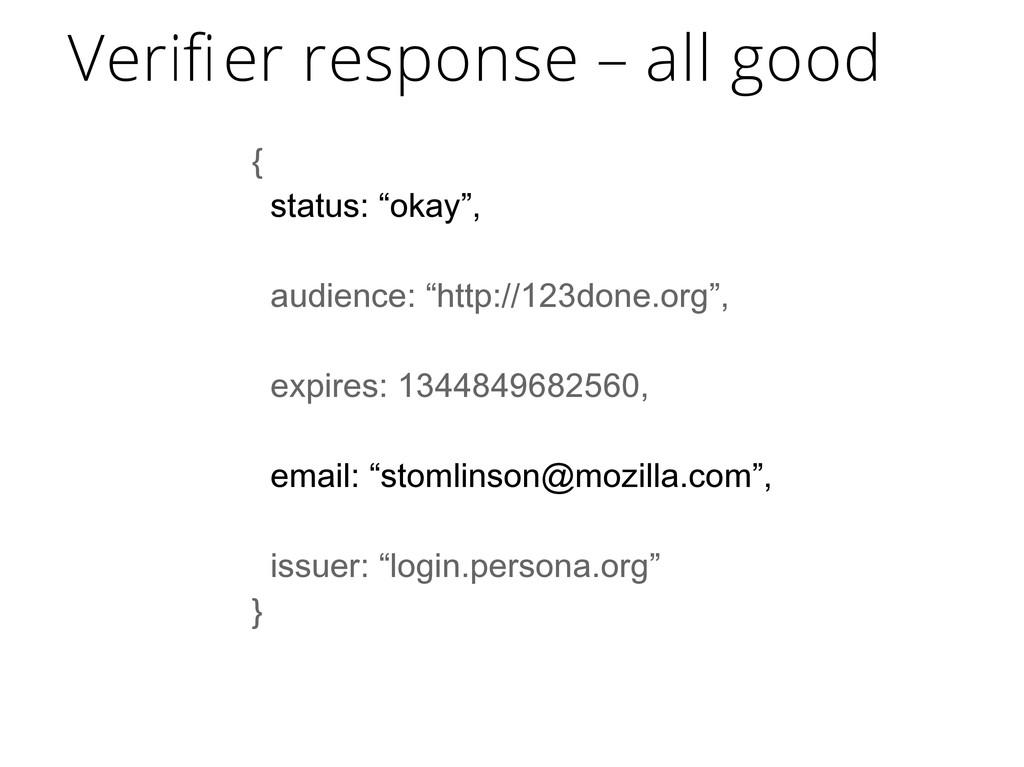 "{ status: ""okay"", audience: ""http://123done.org..."