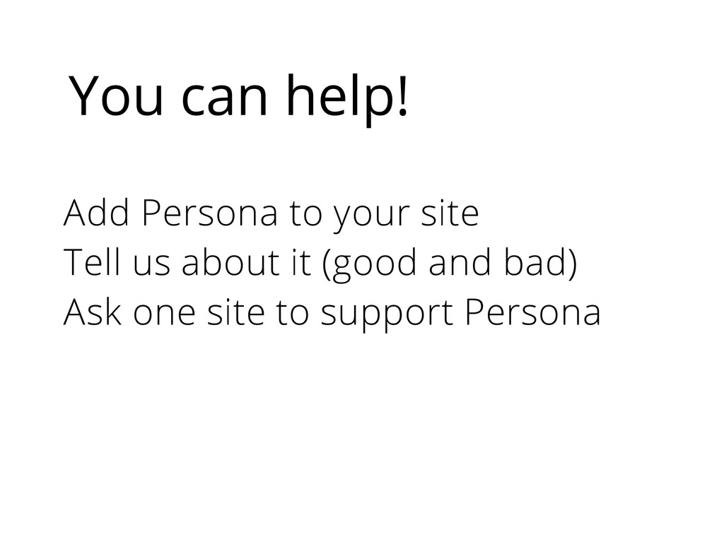 You can help! Add Persona to your site Tell us ...