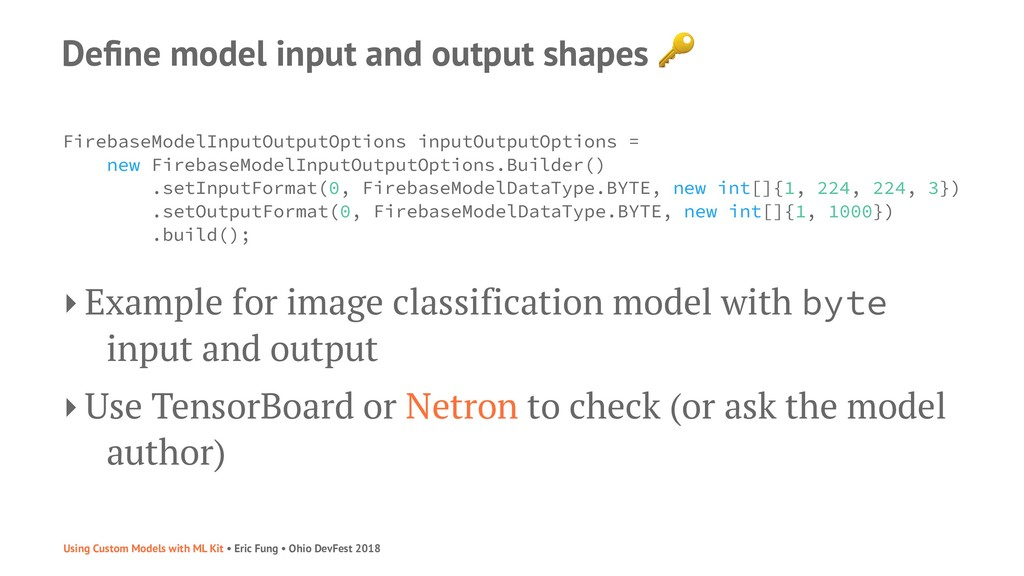 Define model input and output shapes FirebaseMod...