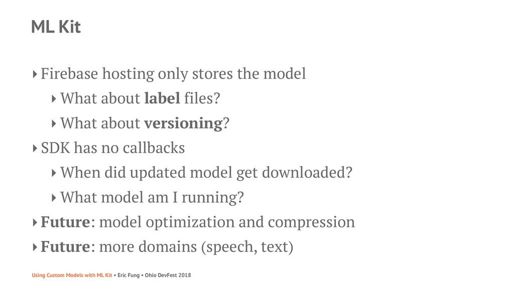ML Kit ‣ Firebase hosting only stores the model...
